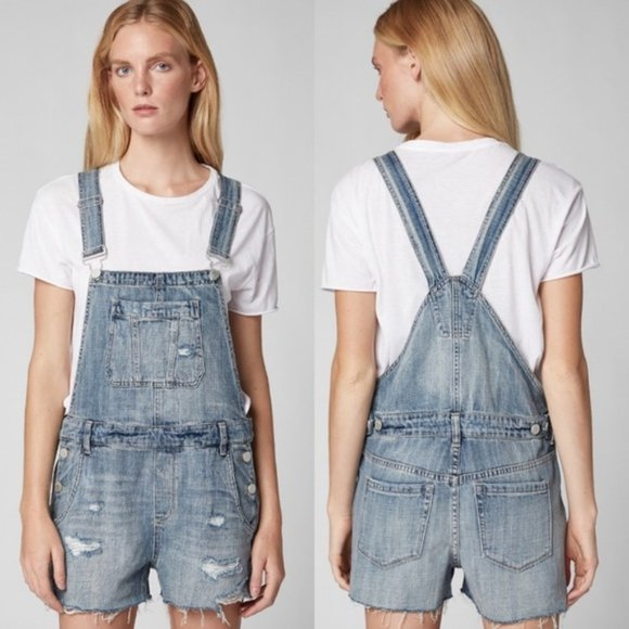 Blank NYC Distressed Denim Overall Shorts Size 26